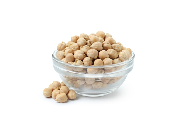 Bowl with fresh chickpea isolated on white