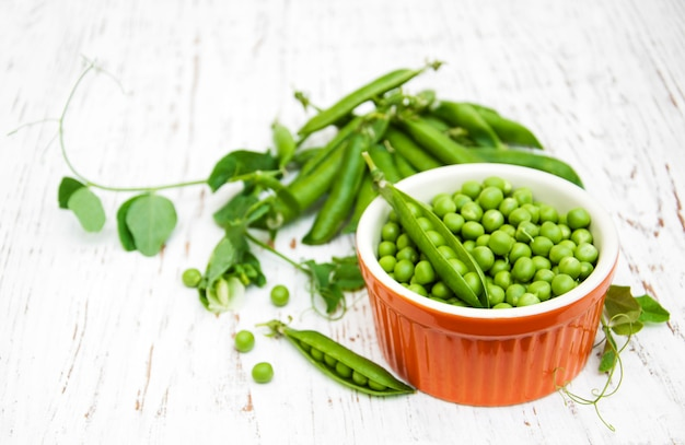 Bowl with fresh peas