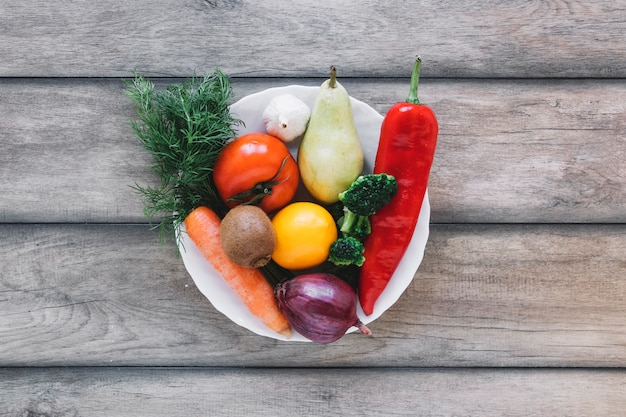 Bowl with fruits and vegetables