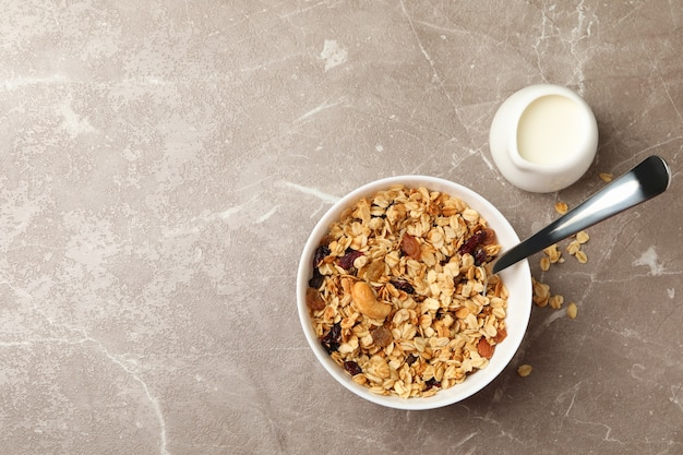 Bowl with granola and milk