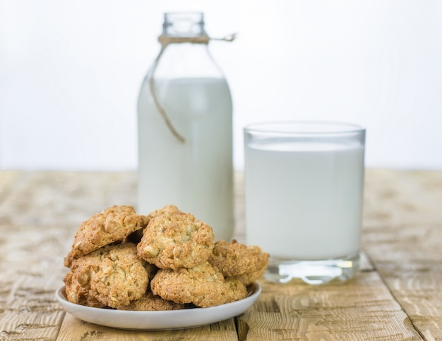 Bowl with homemade biscuits and milk