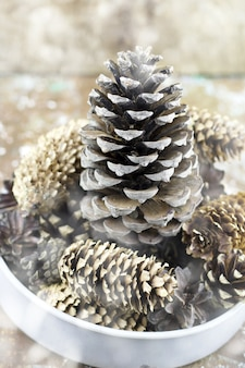 Bowl with pine cones decorations for winter holidays with painted swon