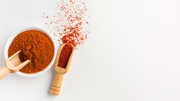 Bowl with spicy powder on table