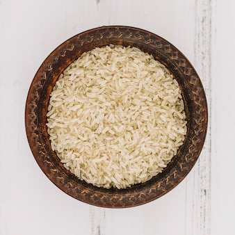 Bowl with uncooked rice