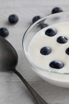 Ciotola con yogurt e mirtilli