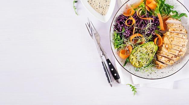 鶏の切り身、アボカド、赤キャベツ、ニンジン、新鮮なレタスのサラダ、ゴマを添えた仏bowl料理。