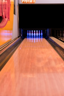 Bowling alley with wooden floor