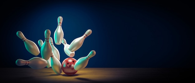 Bowling ball hits the pins by doing a strike.