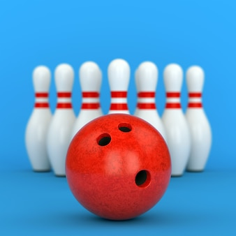 Bowling ball and ten pins with red stripes on blue background. 3d illustration