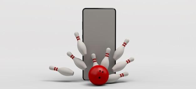 Боулинг на смартфоне. игровая концепция. приложение для боулинга. баннер. 3d иллюстрации. скопируйте пространство.