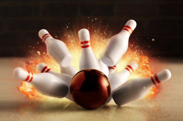 ボウリングのストライキが火の爆発でヒットしました。