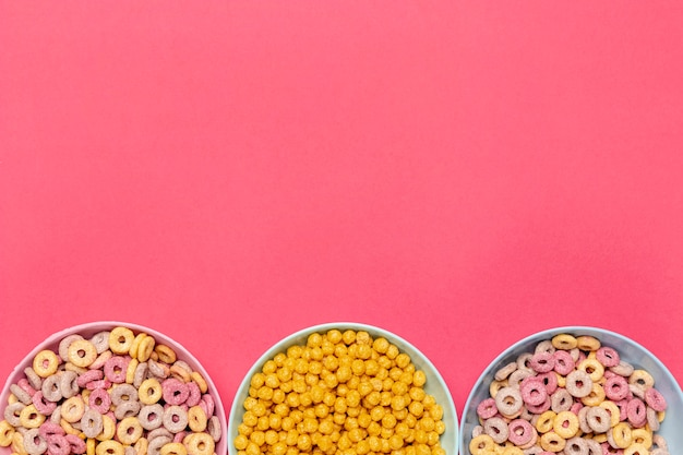 Bowls of cereals with copy space background