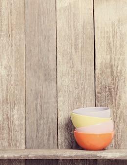 Bowls on cupboard