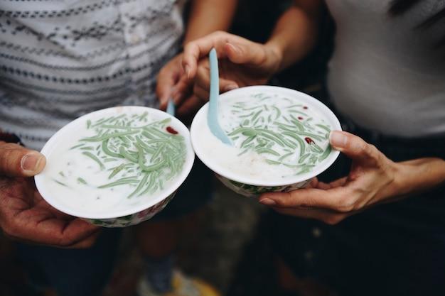 Bowls of malaysian cendol dessert