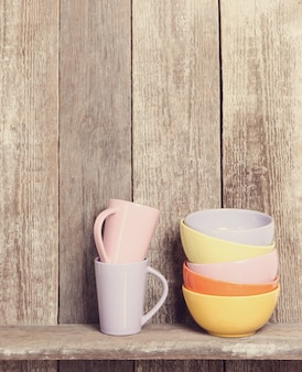 Bowls and mugs on the cupboard