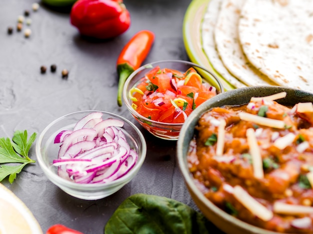Bowls of spicy mexican dips