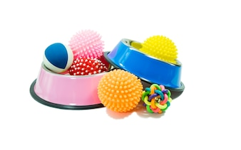 Bowls stainless steel and rubber toys for pet on isolated white background.