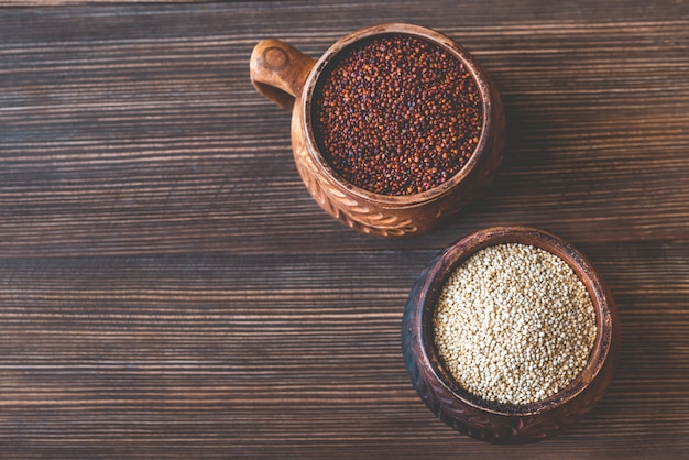Bowls of white and red quinoa