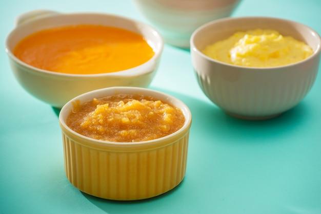 Миски с детским питанием. различные тарелки фруктового и овощного пюре с ингредиентами для приготовления