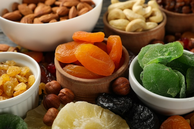 Bowls with dried fruits and nuts