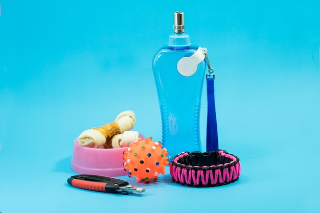 Bowls with snacks, collars, nail scissors and water bottles on blue background