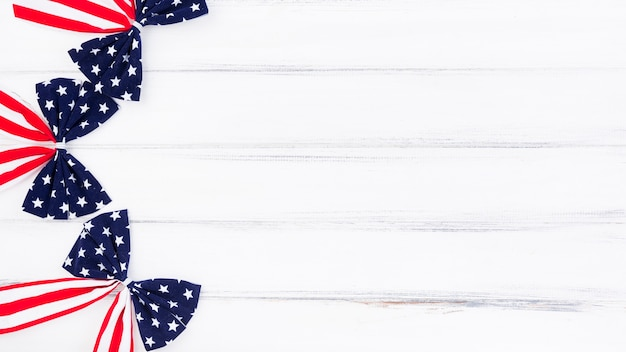 Bows with pattern of usa flag on white background