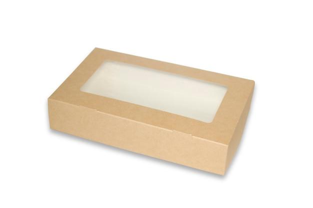 상자 갈색 창 정사각형 모양 잘라낸 포장 템플릿, 빈 크래프트 상자 판지 격리 흰색 배경, 상자 종이 크래프트 천연 소재, 산업 포장 상자에서 선물 상자 갈색 종이