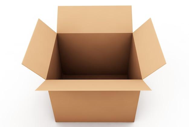 ボックス段ボールは白い背景で隔離のボックスを閉じた3dレンダリング
