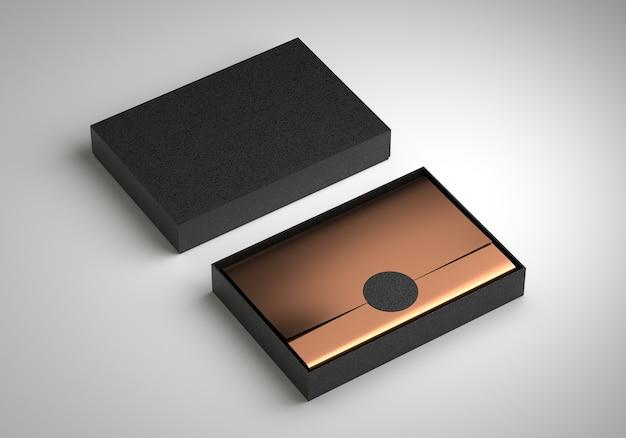 Контейнер коробки с пустой шаблон золотой оберточной бумаги, 3d визуализация