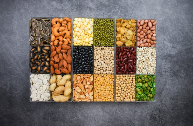 Box of different whole grains beans and legumes seeds