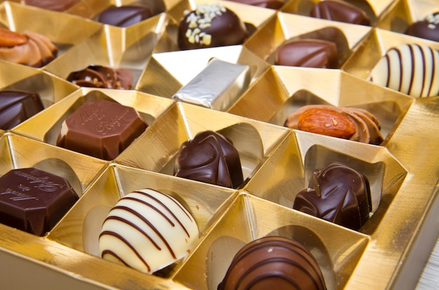 Box filled with chocolates