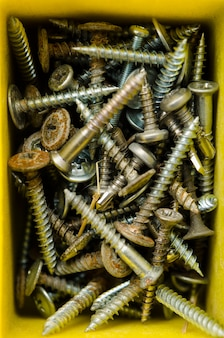 Box full of old self-tapping screw, different condition and size.