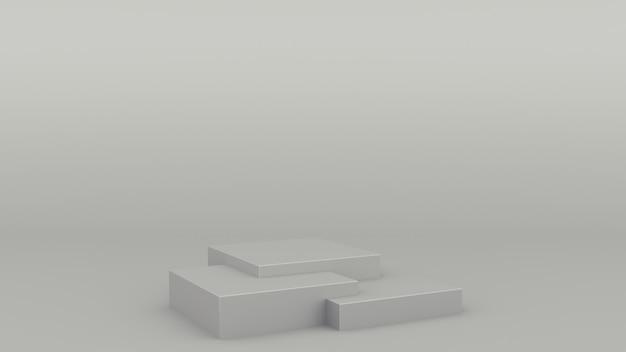 Box geometric podium gray scene minimal 3d rendering modern minimalistic
