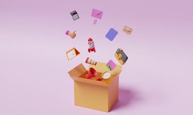 ボックスイラスト3dデザインソーシャルメディアビジネスコンセプト