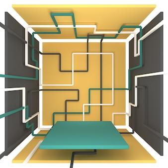 제품을 보여주는 기하학적 모양의 상자 벽에 서로 다른 색상의 선 패턴 제품은 하단 3d 그림에 서