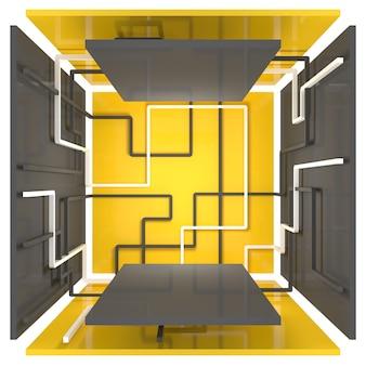제품 시연을 위한 플랫폼이 있는 기하학적 모양 상자. 노란색, 회색 및 흰색의 선과 숫자. 3d 그림