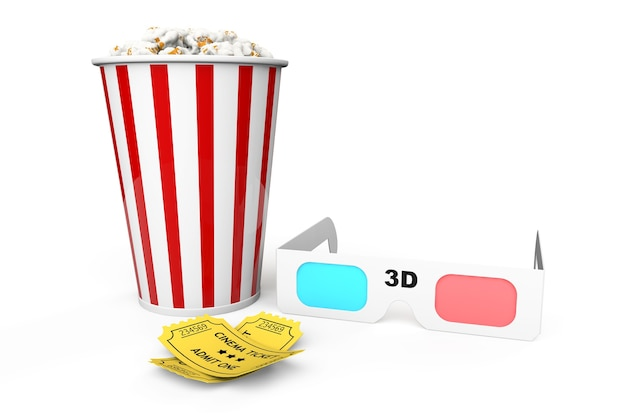 흰색 배경에 팝콘 상자, 3d 안경 및 1인 입장권