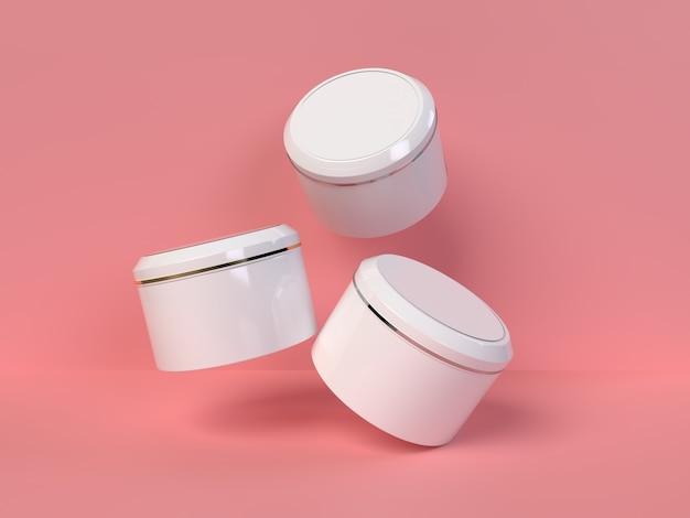 Коробка из трех кремов на розовом фоне для макета