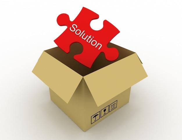 Коробочное решение в оформлении информации, относящейся к абстракционным решениям. 3d иллюстрация