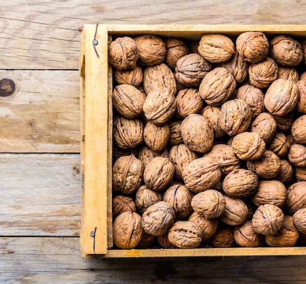 Box of walnuts. harvest concept