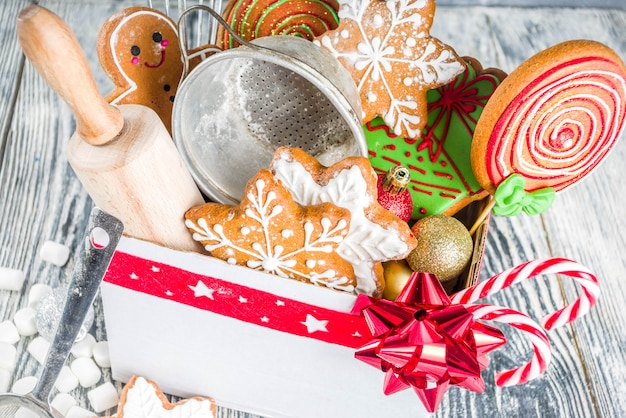 Box with christmas gift for bakers