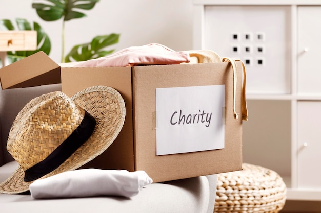 Box with donations for economy crisis