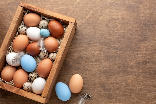 Box with eggs for easter and copy space