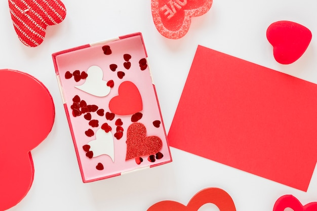 Box with hearts and confetti for valentines