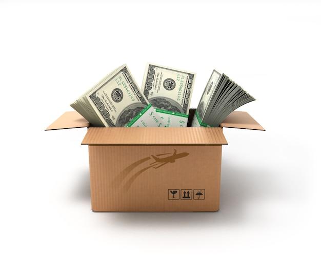 Коробка с большими долларовыми купюрами