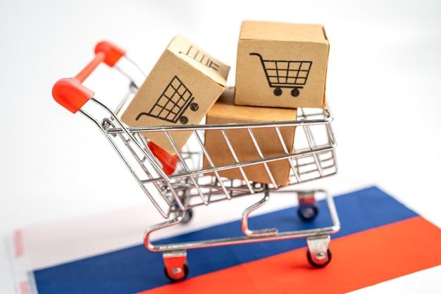 Коробка с логотипом корзины и флагом россии импорт экспорт покупки в интернете