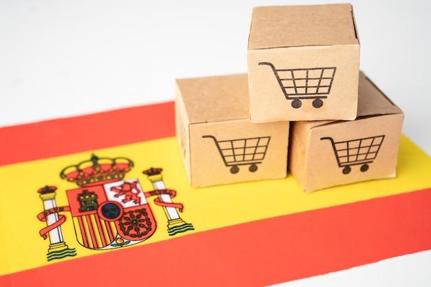 쇼핑 카트 로고와 스페인 국기 상자.