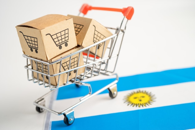 Box with shopping cart logo and argentina flag import export shopping online
