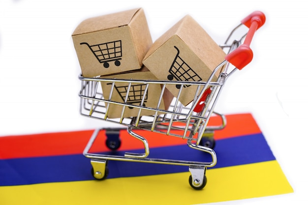 Box with shopping cart logo and armenia flag.
