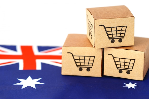 Box with shopping cart logo and australia flag